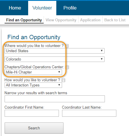 Volunteer Opportunity Screenshot of Completion Step